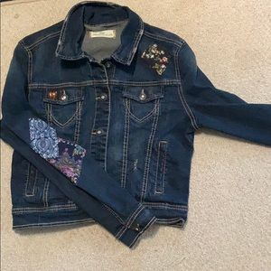 jean jacket with homemade patches